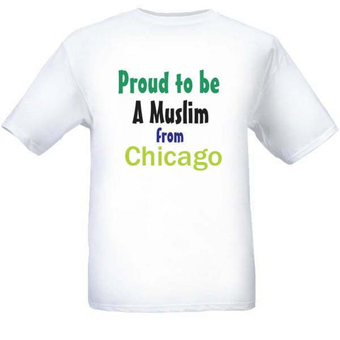 Muslim T-Shirts Clothing - Chicago, Illinois logo design for men and women - Arabic Islamic Shopping Store