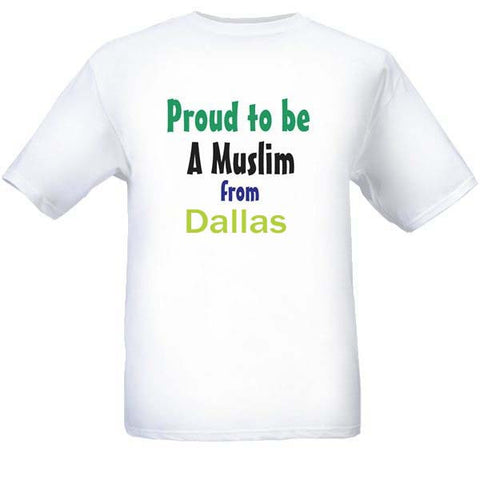 Muslim T-Shirts Clothing - Dallas, Texas logo design for men and women - Arabic Islamic Shopping Store