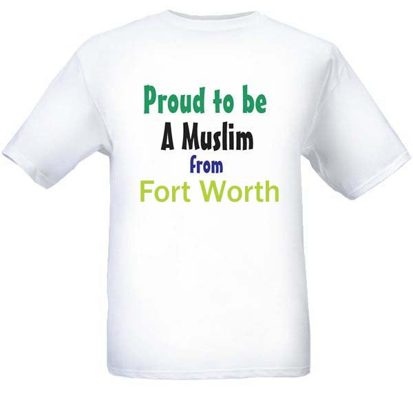 Muslim T-Shirts Clothing - Fort Worth, Texas logo design for men and women - Arabic Islamic Shopping Store