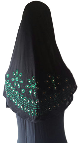 Black Lycra Hijab - 'Leaves and Flowers' - Arabic Islamic Shopping Store - 1