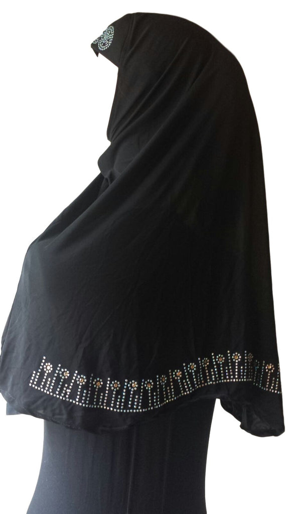 Black Lycra Hijab - 'Little Flowers' - Arabic Islamic Shopping Store