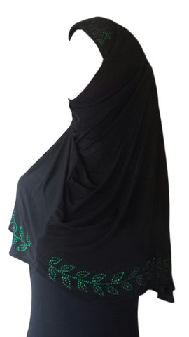 Black Lycra Hijab - 'Leaves' - Arabic Islamic Shopping Store - 1
