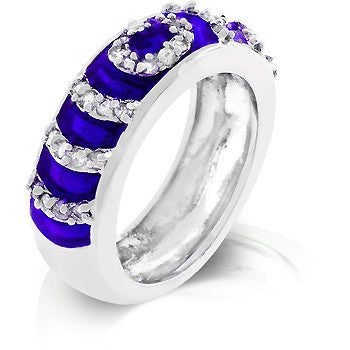 Navy Blue Enamel Eternity Ring - Arabic Islamic Shopping Store