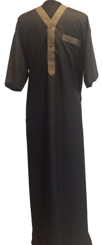 Fancy V Neck Dubai Thobe for Men - Arabic Islamic Shopping Store - 1