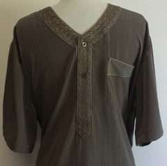 Stylish Short Sleeved Arabian Thobe - Arabic Islamic Shopping Store - 2