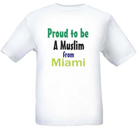 Muslim T-Shirts Clothing - Miami, Florida logo design for men and women - Arabic Islamic Shopping Store