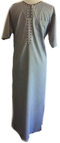 Middle Eastern Gray Casual Thobe - Arabic Islamic Shopping Store - 1