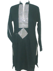 Black kurta with silver designs - Arabic Islamic Shopping Store - 1