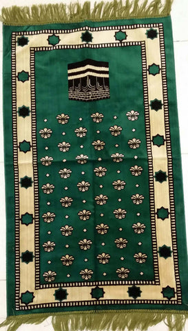 Makkah Kaaba Design Green Prayer Rug - Arabic Islamic Shopping Store