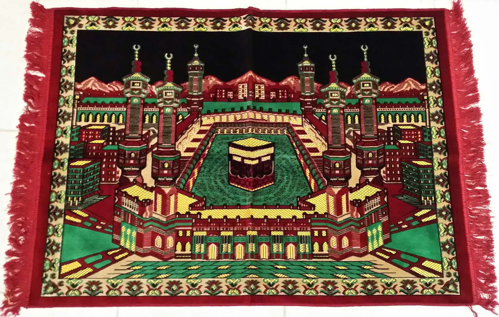 Large Red Makkah Decoration Turkish Prayer Rug - Arabic Islamic Shopping Store