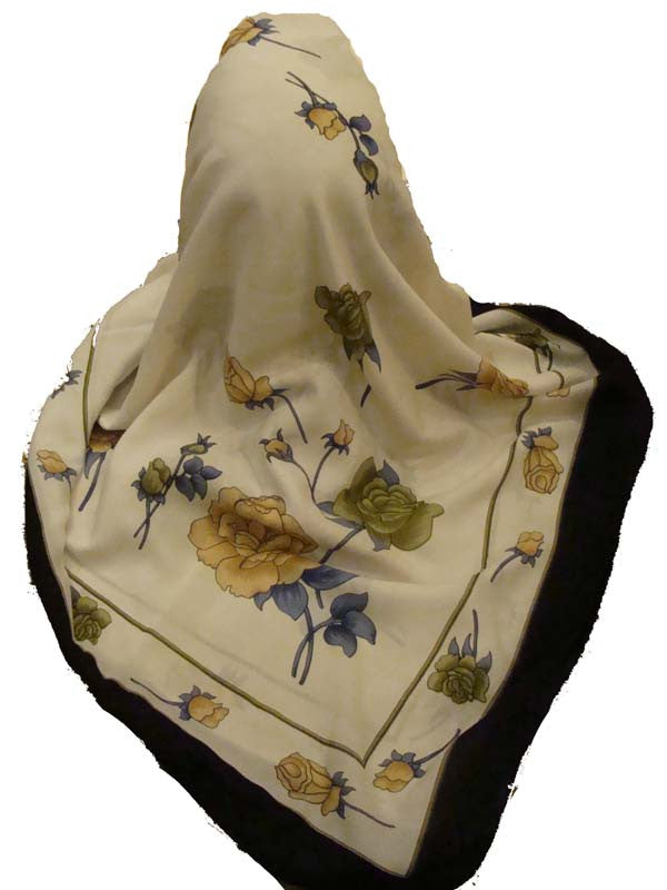 Turkish Scarf - Rose Silouette polyester Scarf wrap kerchief - Arabic Islamic Shopping Store - 1