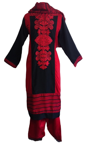 Dual tone Embroidered Cotton Salwar Kameez - Arabic Islamic Shopping Store - 1