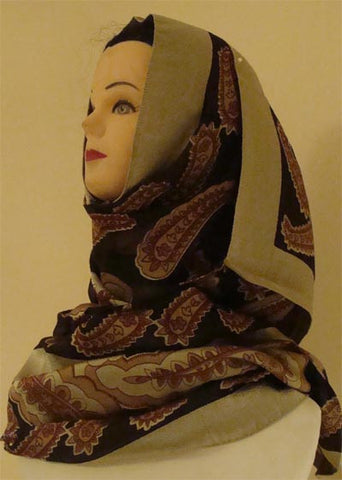 """Andalus"" Patterned Polyester Shawl and Hijab - Arabic Islamic Shopping Store"
