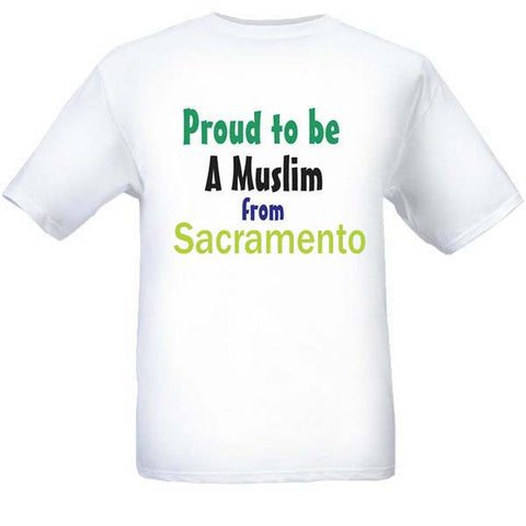 Muslim T-Shirts Clothing - Sacramento, California logo design for men and women - Arabic Islamic Shopping Store
