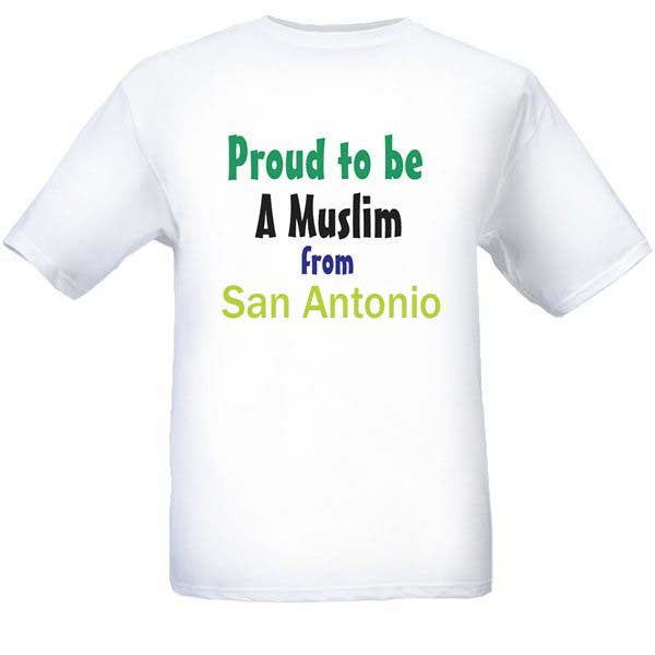 Muslim T-Shirts Clothing - San Antonio, Texas logo design for men and women - Arabic Islamic Shopping Store