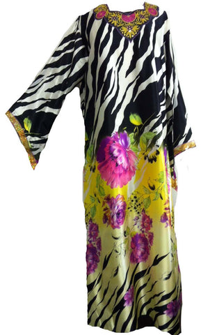 Zebra-print Spring Collection Kimono Kaftan - Arabic Islamic Shopping Store - 1