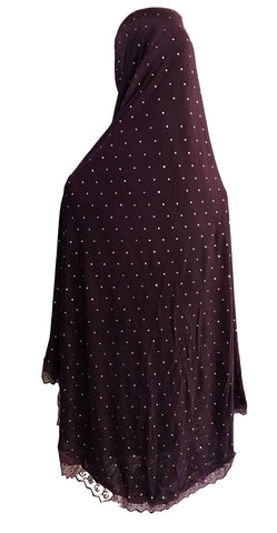 Knee Length Glitter Patterned Hijabs for Muslim Women