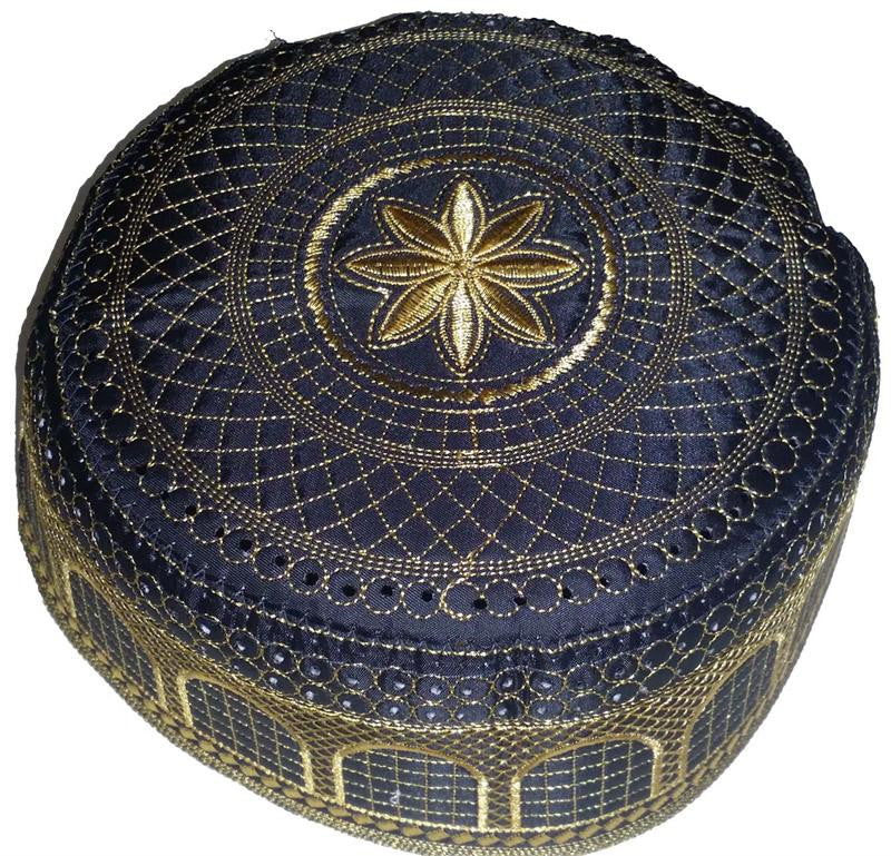 Arabic Islamic Black Kufi with Golden Thread Embroidery for Men - Arabic Islamic Shopping Store
