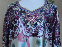 Printed Heart Satin-feel Light weight Kaftan dress - Arabic Islamic Shopping Store - 2