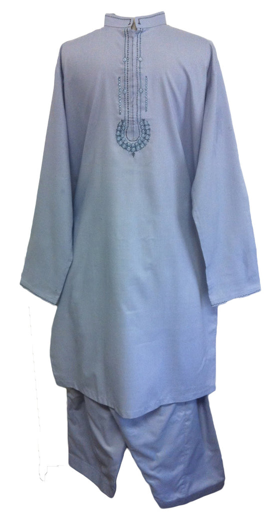 Stylish Pakistani Blue Shalwar Kameez for Men - Arabic Islamic Shopping Store - 1