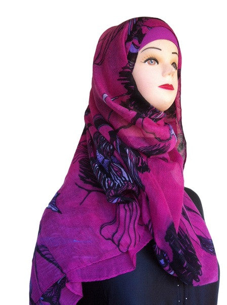Floral Print Polyester Shawls - Arabic Islamic Shopping Store