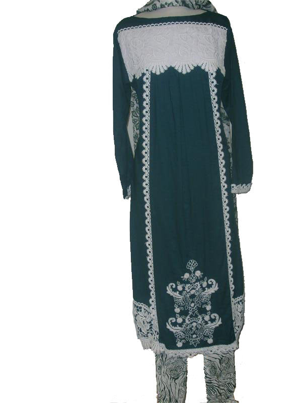 Ladies' Laced Kameez-churidaar set - Arabic Islamic Shopping Store - 1