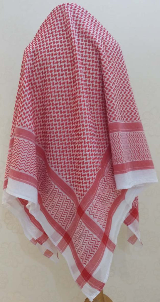 "Men's Arab ""Shemagh"" (Head Scarf) - Red and White Shemagh - Arabic Islamic Shopping Store - 1"