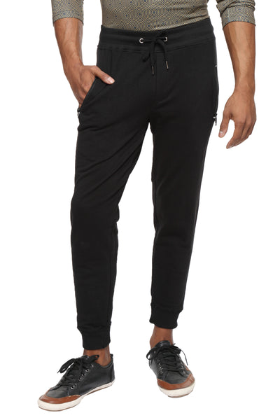 Slim fit cotton Joggers- Black