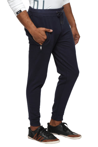 Slim fit cotton Joggers- Navy Blue