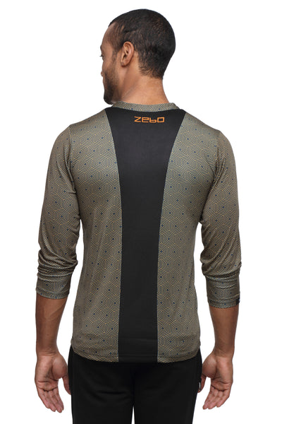 PERFORMA+ GeoHex full sleeve Henley - Zebo Active Wear