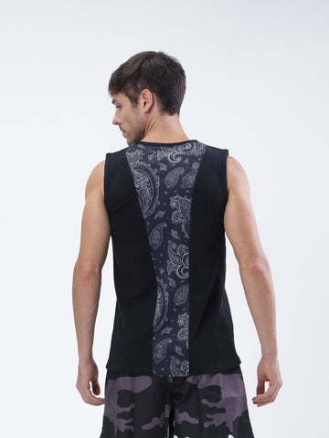Cotton Sleeveless training top with printed back panel - Zebo Active Wear