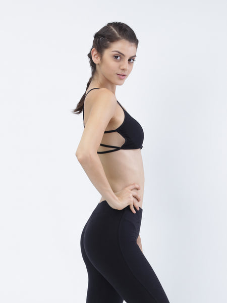 Strappy- cotton casual low impact padded bra - Zebo Active Wear