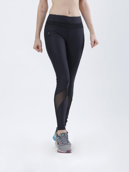 Anti-bacterial quick dry leggings with side breathable mesh & side pocket with zip - Zebo Active Wear