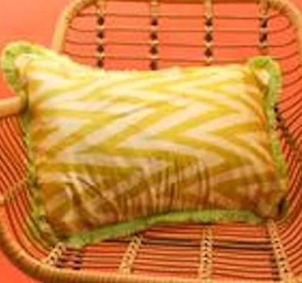 LIME GEOMETRIC SILK CUSHION