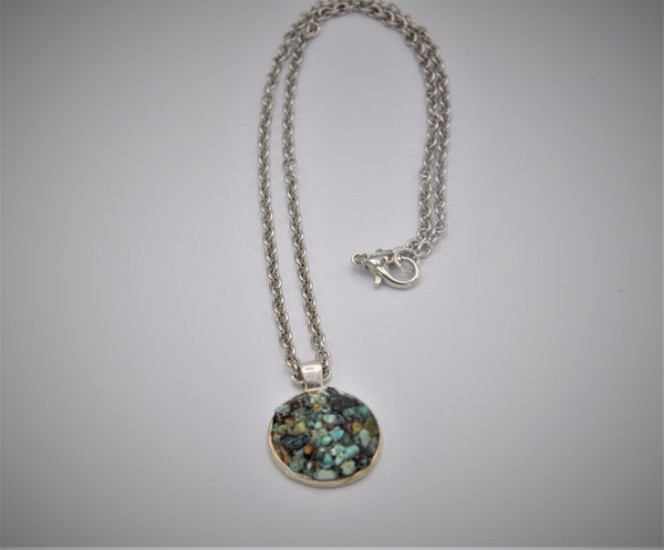 Mexican turquoise (raw) faux druzy necklace