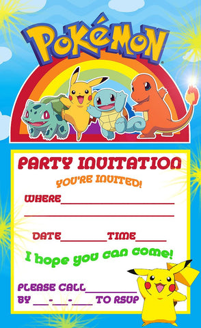 Pokemon Free Birthday Party Invitations