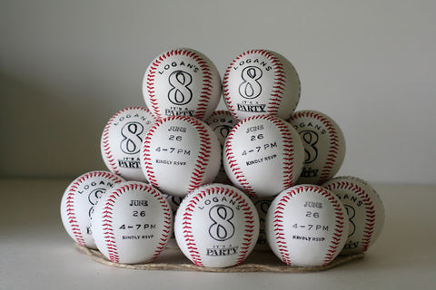 Baseball Birthday party invitations on a baseball