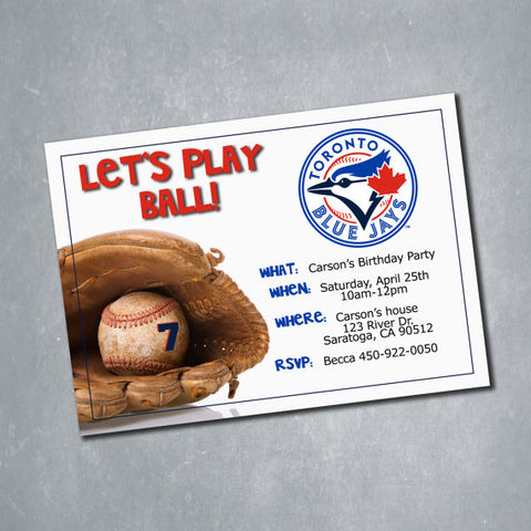 Toronto Blue Jays birthday party invitations