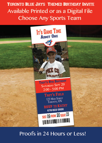 Blue Jays Birthday Party Invitations