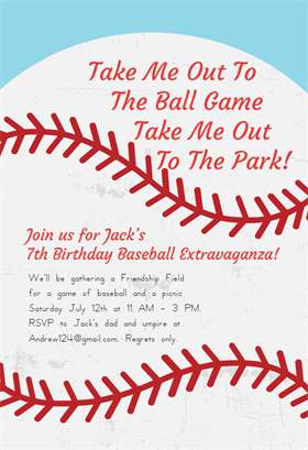 Baseball birthday party invitations on greeting island