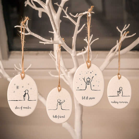Ceramic Tree Decorations - Snowman Series - Personalisable