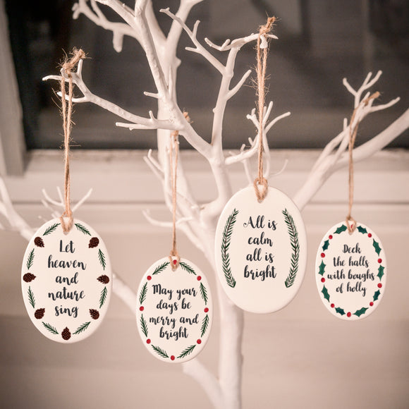 Ceramic Tree Decorations - Rustic Christmas - Personalisable