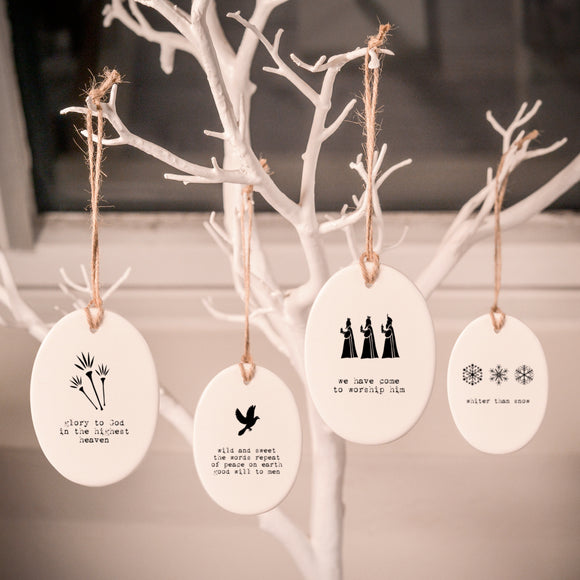 Personalisable Monochrome Christmas Ceramic Decorations - Set 2