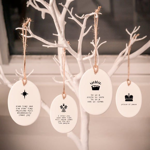 Personalisable Monochrome Christmas Ceramic Decorations - Set 1