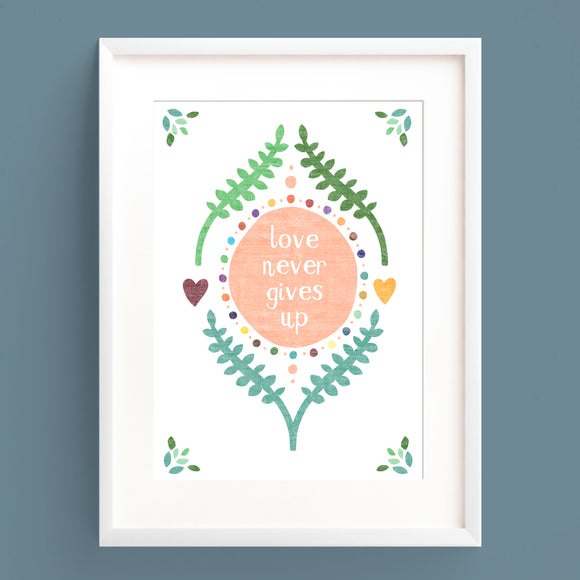 Love Never Gives Up Print