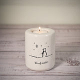 Tall Ceramic Tea Light Holder - Snowman Series