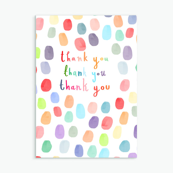 thank you thank you thank you - A6 greetings card
