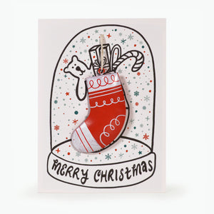 METAL CHRISTMAS DECORATION CARD - STOCKING