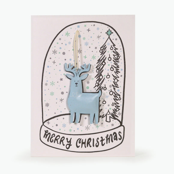 METAL CHRISTMAS DECORATION CARD - REINDEER