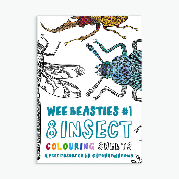 Wee Beasties #1 - 8 Insect Colouring Sheets